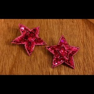 Jewelry - Retro Pink Fuchsia Sequin Star Earrings